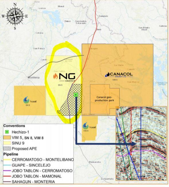Gasfelder von Canacol und NG Energy